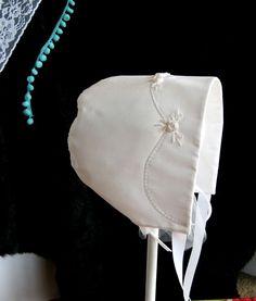 Elizabeth Rose Christening Bonnet by SnowdropsDesigns on Etsy, $48.00