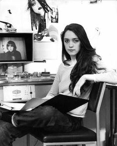 """""""Vivian at EMI studio in her cutting room for Making The Shining, using a 16mm Steenbeck, 1980  *Picture taken by Stanley"""""""