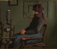 julius exner(1825-1910), mother lydum at the spinning wheel, 1888. oil on canvas, 35.8 x 41.2 cm. sorø kunstmuseum, denmark http://admin.sorokunstmuseum.dk/samlingen/soeg_i_samlingen/vks-00-0850