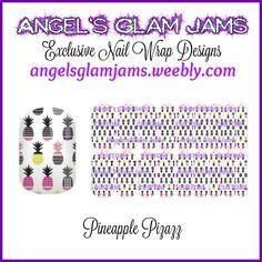 Pineapple Pizazz Jamberry Nail Wraps by Angel's Glam Jams  ORDER HERE: http://angelsglamjams.weebly.com/pineapple-pizazz.html  #pineapple #fruit #pizazz #yellow #pink #black #jamberry #nailwraps