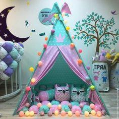 teepee niños Teepee Play Tent, Diy Teepee, Teepee Party, Kids Tents, Teepee Kids, Teepees, Sleepover Party, Slumber Parties, Baby Room Decor