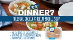 With a pressure cooker and diced chicken, a homestyle chicken soup with veggie 'zoodles' takes no time at all! Chicken Zoodle Soup, Diced Chicken, Fresh Chicken, Slow Cooker Recipes, Soup Recipes, Chicken Recipes, Veggie Zoodles, Lean And Green Meals, Chicken With Olives