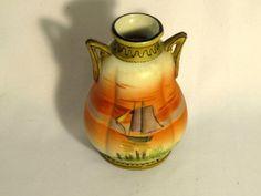 Antique Nippon China Moriage Scenic  Lake Ship Vase
