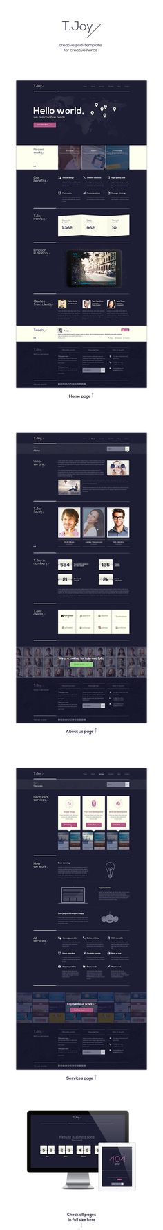 T.Joy - Flat Multipurpose PSD Template by Olia Gozha, via Behance