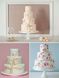 hand painted wedding cakes made by Zoe Clark @ The Cake Parlour