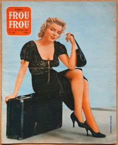 Marilyn on the cover of Paris Frou Frou magazine, 1956, France. Cover photo of Marilyn in publicity for Bus Stop, photo by Milton H. Greene, 1956.