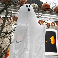 Haunt your house.  Hang this spooky cheesecloth ghost from a tree or the rafters, and wait for a breeze to send it flying.