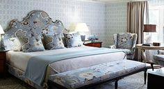 schumacher fabric blue gray bed rug wall chair curtains
