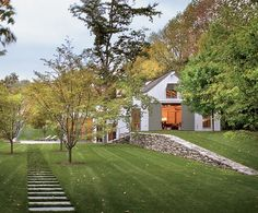farmhouse retaining wall and grassy steps