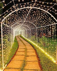 Entering into the beautiful phase of life under the stars. We'd ❤ to walk under this tunnel of lights and take a few Desi Wedding Decor, Wedding Hall Decorations, Marriage Decoration, Wedding Mandap, Backdrop Decorations, Wedding Receptions, Wedding Table, Wedding Ceremony, Diy Wedding Entrance