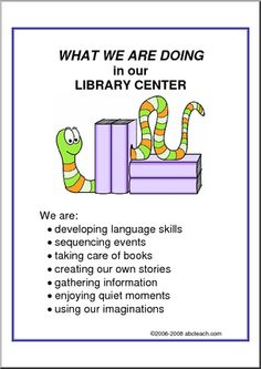 What We Are Doing Sign: Library Center - A list of library center objectives. Preschool Center Signs, Preschool Centers, Preschool Curriculum, Preschool Classroom, In Kindergarten, Preschool Library Center, Prek Literacy, Preschool Ideas, Classroom Signs