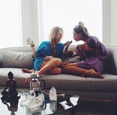 / morning coffee, puppy, & bff /