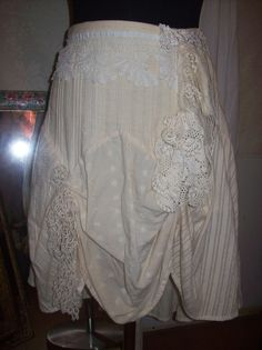 Tea Stained Shabby Chic Barn Wedding Upcycled Skirt with Tattered and Torn Lace and Crochet on Etsy, $68.50