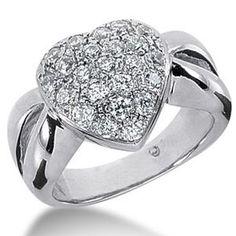 1.00 Karat Diamantring 585er Weißgold Pavée-Style