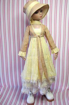 "OOAK custom Ellowyne Wilde outfit. ""Banoffee Ice Cream"" dress, jacket, and hat set."