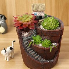 Hanging Garden Potted Micro Landscape Meat Plant Pots Small House Resin for sale online Planting Succulents, Potted Plants, Planting Flowers, Succulent Plants, Small Plants, Indoor Fairy Gardens, Mini Fairy Garden, Garden Items, Garden Pots