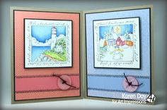 Art Impressions Rubber Stamps: Lighthouse Window, Christmas Village Window, ...handmade Windows to the World cards.