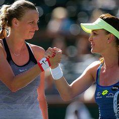 Good spirits. Handshake after Radwanska's win over Kvitova in Indian Wells quarterfinals. #BNPPO16