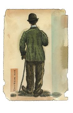 Chaplin back view; Giclee print from a watercolour drawing made for the Nightingale Project 2013