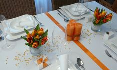 Table Settings, Table Decorations, Orange, Interior, Home Decor, Elegant, Wedding Color Palettes, Peach Paint, Classy