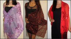 Beautiful evening shawls to make you women look stunning. http://www.yourselegantly.com/dressy-evening-shawls/silk-evening-shawls-51.html