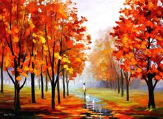 Beautiful original oil painting by famous artist Leonid Afremov. The painting is stretched and ready to hang. Painting painted with a palette knife. Shipping is free worldwide! Autumn Painting, Oil Painting On Canvas, Canvas Art, Canvas Paintings, Pink Painting, Painting Art, Summer Landscape, Oil Painting Reproductions, Autumn Trees
