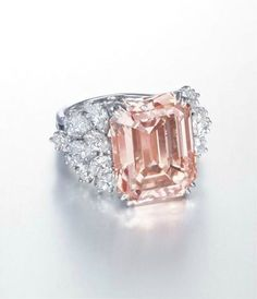 A rare 12.93 carats rectangular-shaped orangy pink diamond and diamond ring, by Harry Winston - jewelry, jadau, fashion, silver, art deco, fashion jewellery *ad