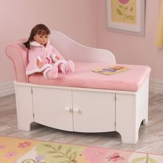 KidKraft Princess Kids Chaise Lounge with Storage Compartment Cheap Furniture, Sofa Furniture, Metal Furniture, Princess Toddler Bed, Princess Room, Kids Bookcase, Kids Seating, Storage Compartments, Girls Bedroom