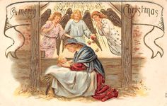 Embossed: A Merry Christmas! Angels, Stable, Virgin Mary, Holy Birth • AUD 11.69 - PicClick AU