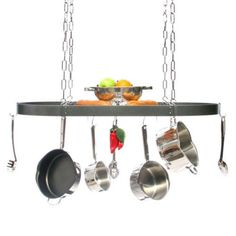 Large Gourmet Oval Kitchen Pot Rack with Grid - 27
