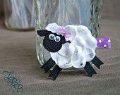 Woolly Sheep Ribbon Sculpture Hair Clip, lamb hair bow, farm animals, one (1)