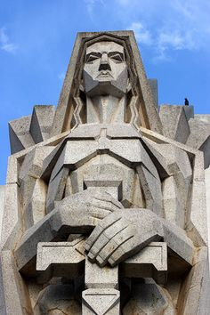 """Art Deco image called """"Angel of Death"""" -Facade of the cemetery of the City of Azul in Buenos Aires Province, Argentina. It was designed by the architect Francisco Salamone. Art Deco Stil, Art Deco Home, Art Nouveau, Sculpture Art, Sculptures, Art Deco Artwork, Design Industrial, Art Deco Buildings, Architectural Sculpture"""