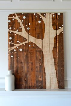 Reclaimed Wood Art Sign: Ivory Tree On Stained Wood With Dot Leaves