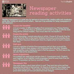 newspaper reading activities - Source: Teaching English British Council (Facebook page)