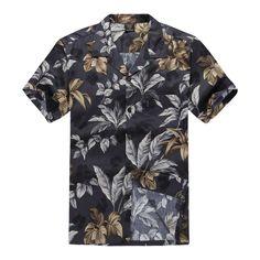e23e19cd Men Hawaiian Aloha Shirt in Black and Gold Leaf Mens Hawaiian Shirts,  Vintage Hawaiian Shirts