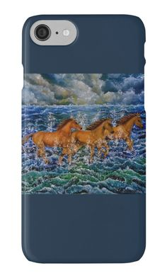 IPhone Case,  blue,cool,beautiful,fancy,unique,trendy,artistic,awesome,fahionable,unusual,accessories,for sale,design,items,products,gifts,presents,ideas,horses,equine,animals,wildlife,sea,waves,redbubble