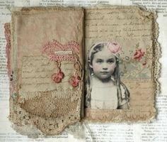 mixed media book page of girl with rose headband