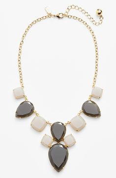 Sheer elegance. Adding this charcoal and gold square bib necklace to every outfit | Kate Spade