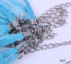 beautiful color    18 Inches Sky Blue Ribbon Waxed Cord Lobster Clasps Thread Chains Wire Fit Pendant