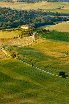Countryside near Pienza, Tuscany Italy.  It reminds me of my jogging path, heaven!  Could run forever!