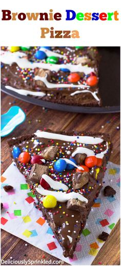 Brownie Dessert Pizza topped with Nutella, sprinkles, candies, and marshmallow creme! #recipe #desserts #brownies