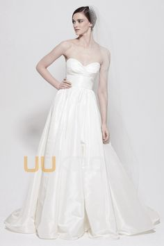 Empire Line Strapless Sweetheart Chapel Train Silk and Taffeta Wedding Dress For Bride - UUknot.com