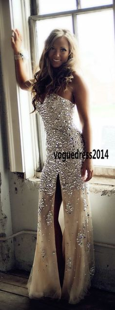 Handmade Full Beaded Silver Stones Sexy Champagne Mermaid Evening Prom Dresses With Slit in Front,beading prom dress,beaded graduation dresses, Mermaid prom dresses . #promdress