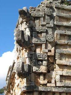Detail in god Chac Mayan ruins in Xlapak. Part of the Puuc region (Yucatan, Mexico)