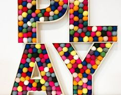 Exciting and Creative Kid's Playroom Ideas – Voyage Afield Kids Wall Decor, Playroom Decor, Nursery Decor, Playroom Ideas, Colorful Playroom, Felt Ball Garland, Playroom Design, Nursery Letters, Toy Rooms