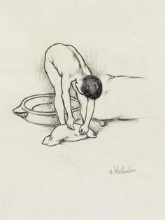 Female Nude, washing herself by Suzanne Valadon. sketch and study Maurice Utrillo, Drawing Sketches, Drawings, Art Database, Painting Lessons, French Artists, Figure Painting, Contemporary Paintings, Art History