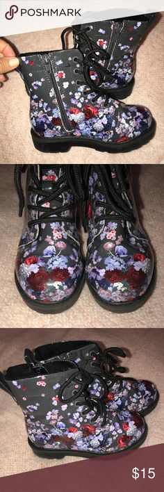 Patent leather floral combat boots Girls size 10.5 patent leather floral combat boots with lace up and inside zipper closure. Lightly used- excellent condition! H&M Shoes Boots