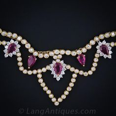 Ruby and Diamond Bib-Style Necklace - 90-1-907 - Lang Antiques