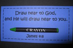 James Draw near to God. Crayon on a scripture card - Women's Ministry idea Sunday School Lessons, Sunday School Crafts, Object Lessons, Bible Lessons, Prayer Partner, Church Activities, Bible Activities, Kids Church, Church Ideas
