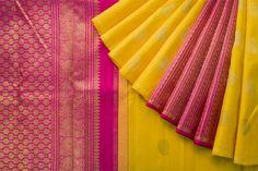 Handwoven Kanjeevaram Silk Sari Parisera Indian Silk Sarees, Silk Cotton Sarees, Sari Silk, Bridal Sari, Saree Wedding, Designer Sarees Collection, Saree Collection, Silk Sarees With Price, Yellow Saree
